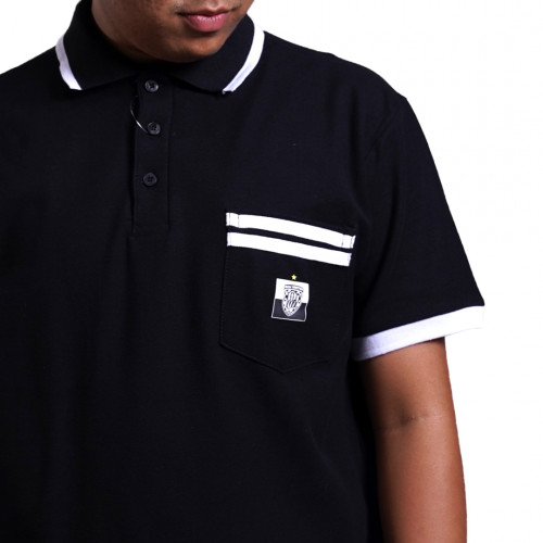 Bali United Short Sleeve Stripe Polo Shirt Black