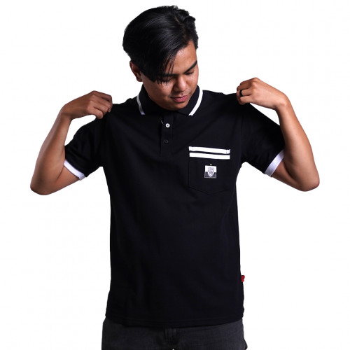 Bali United Baju Polo Short Sleeve Stripe Black