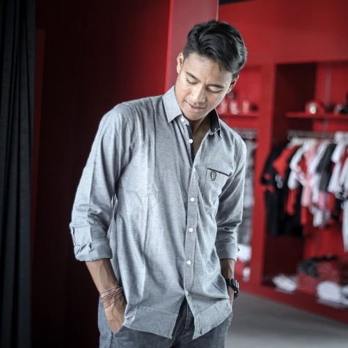 GREY BU LONG SLEEVES SHIRT